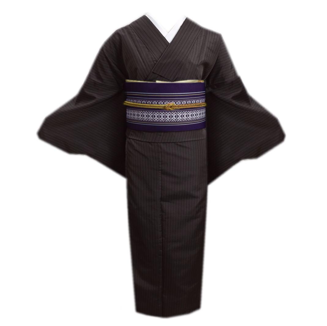 着物 洗える 袷 先染め 小紋 と 軽装帯 献上柄 付け帯 2点セット こげ茶地ライン M L きもの