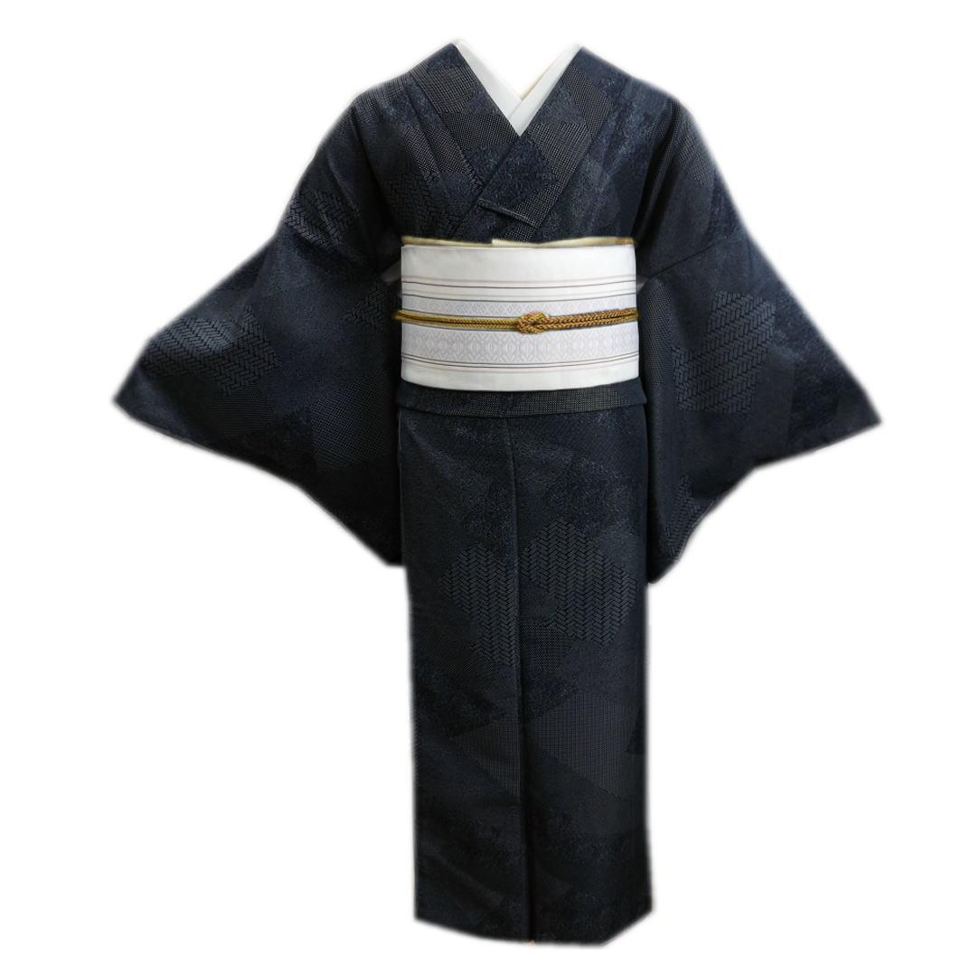 【訳有り】 少難あり 着物 洗える 袷 江戸小紋 と 軽装帯 献上柄 付け帯 2点セット 黒色地古典柄合わせ M