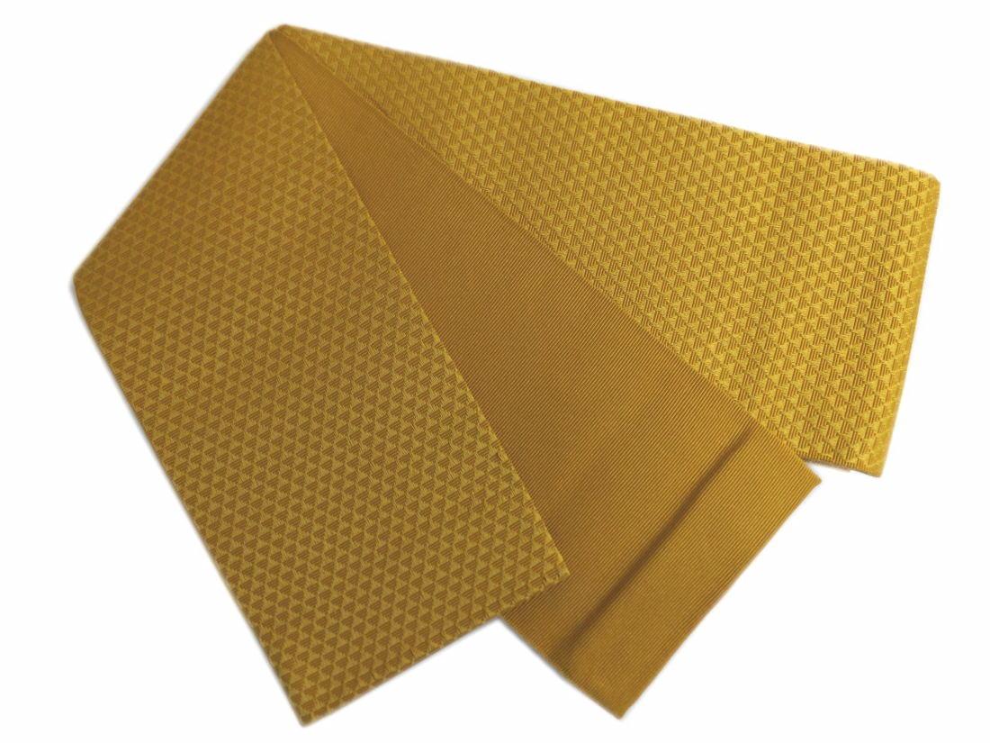 粋なメンズ男物男性小袋角帯金茶色地ウロコ 浴衣&着物に 日本製