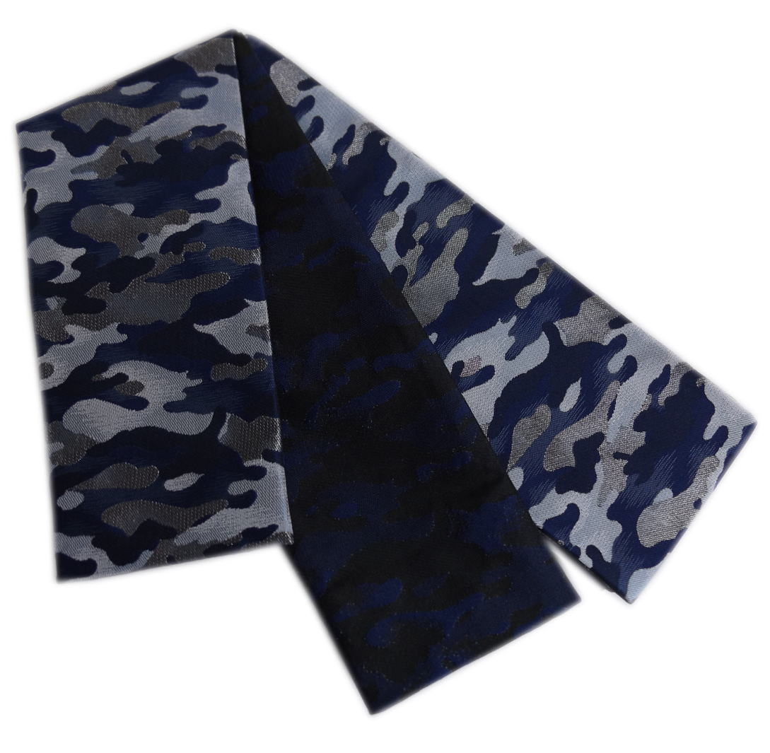 角帯 リバーシブル 小袋 メンズ 男性 日本製 青紺色地銀糸迷彩柄 浴衣 着物 織地 粋 両面 男物