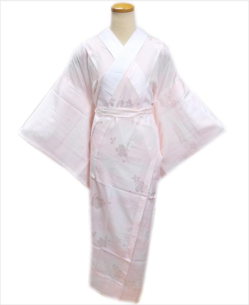 お仕立上がり正絹長襦袢(長地袢)薄ピンクS・M・L・LL 日本製 和装着物下着 着心地抜群 女性用レディース