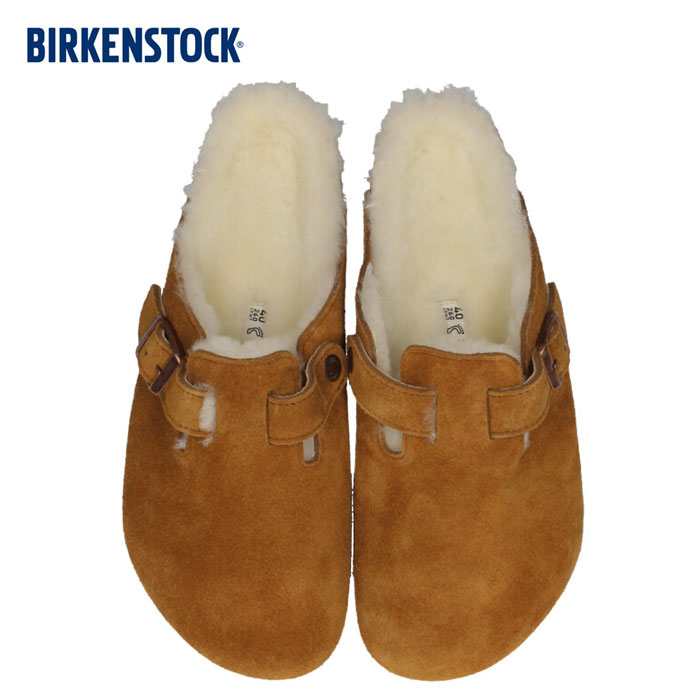 ビルケンシュトック BIRKENSTOCK メンズ ボストン シアリング Boston Shearling 1001140 幅広 サンダル 靴 スエード ミンク ブラウン 国内正規品