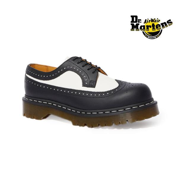 ドクターマーチン Dr.Martens ブローグシューズ レディース CORE 3989 BEX 10458001 ウィングチップ 靴 黒 白 ブラック ホワイト