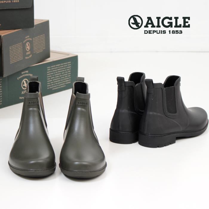 AIGLE エーグル レインブーツ メンズ サイドゴア ショートブーツ カーヴィル 長靴 3830 CARVILLE ラバーブーツ 正規品