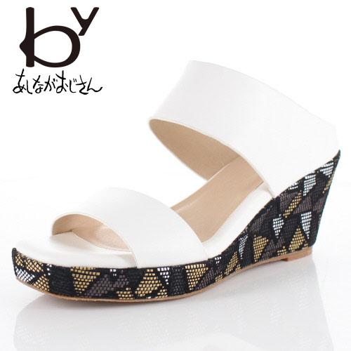 byあしながおじさん ブランド 靴 8750303 サンダル ミュール ウエッジヒール デザインヒール 白 ホワイト レディース セール