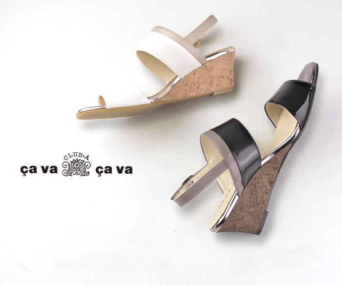 cavacava サヴァサヴァ 靴 サンダル 3720201 ウェッジソール コルク バックストラップ ベルト メタリック 日本製 セール