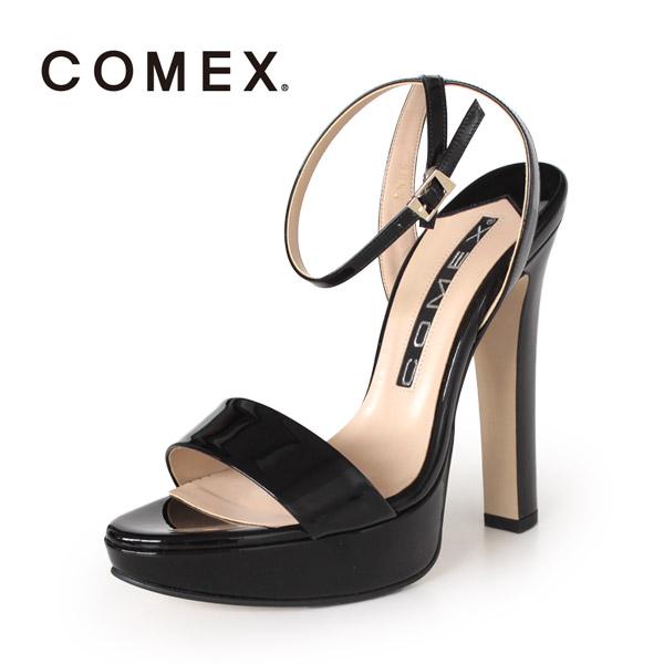 COMEX コメックス サンダル 靴 5586 (クロE) ネックベルト アンクルストラップ ハイヒール 黒 本革 エナメル