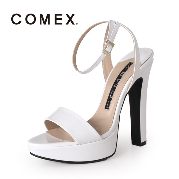 COMEX コメックス サンダル 靴 5586 (シロE) ネックベルト アンクルストラップ ハイヒール 白 本革 エナメル