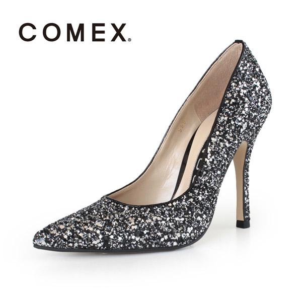 COMEX コメックス パンプス 靴 5594 (クロシルバーラメ) ポインテッドトゥ ハイヒール グリッター ラメ ピンヒール パーティー