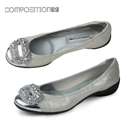 コンポジションナイン COMPOSITION9 靴 2471 コンフォートシューズ レディース パンプス バレエシューズ コンポジション9 シルバー