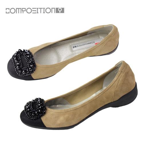 コンポジションナイン COMPOSITION9 靴 2471 コンフォートシューズ レディース パンプス バレエシューズ コンポジション9 ベージュ スエード セール