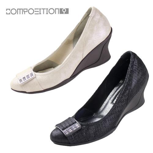 コンポジションナイン COMPOSITION9 靴 2611 コンフォートパンプス レディース ウェッジソール ヒール ゴールド コンポジション9