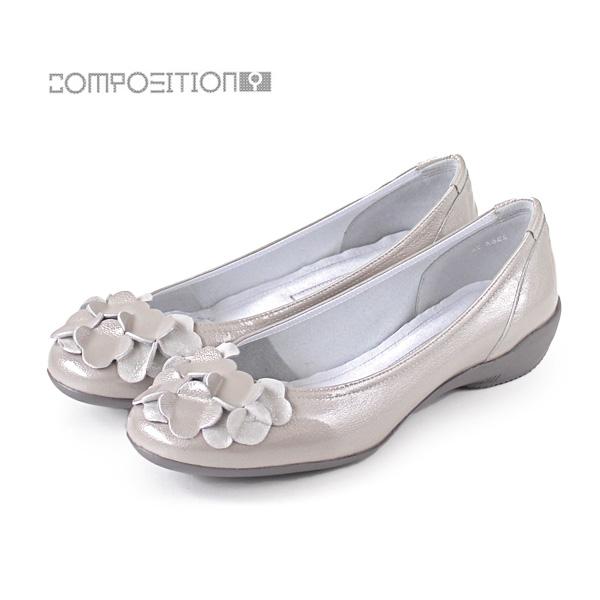 コンポジションナイン COMPOSITION9 靴 2364 コンフォートシューズ レディース パンプス バレエシューズ コンポジション9 グレーエナメル