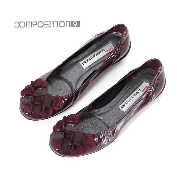 コンポジションナイン COMPOSITION9 靴 2364 コンフォートシューズ レディース パンプス バレエシューズ コンポジション9 レッドエナメル