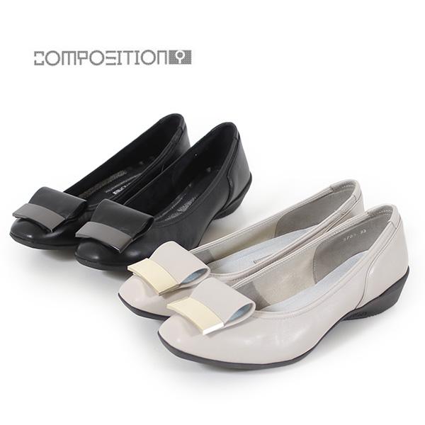 コンポジションナイン COMPOSITION9 靴 2705 コンフォートパンプス レディース ローヒール 低反発 スクエアトゥ プレート 飾り コンポジション9 セール