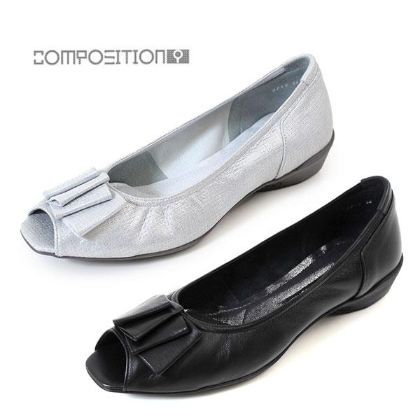 コンポジションナイン COMPOSITION9 靴 2712 コンフォートパンプス リボン 飾り オープントゥ レディース ウェッジソール ヒール ブラック シルバー コンポジション9 セール
