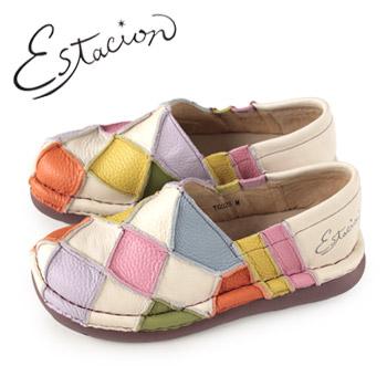 エスタシオン 靴 estacion TG025 (IV/MT) 本革 厚底 スリッポン カジュアルシューズ コンフォートシューズ レディース 白 ホワイト パッチワーク