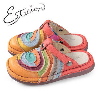 エスタシオン 靴 estacion TG034 (OR) 本革 厚底 コンフォート ミュール サンダル ぺたんこ レディース