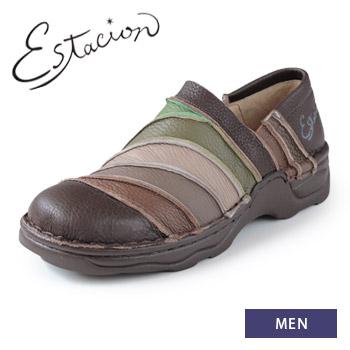 エスタシオン 靴 メンズ estacion TK105 (BR/MT) 本革 スリッポン カジュアルシューズ