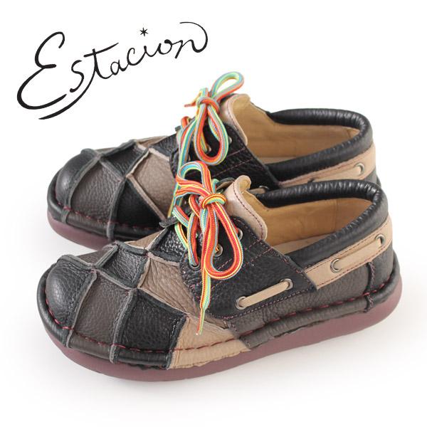 エスタシオン 靴 estacion TG154 (BL/MT) 本革 厚底 カジュアルシューズ コンフォートシューズ レディース 紐靴 レースアップシューズ パッチワーク