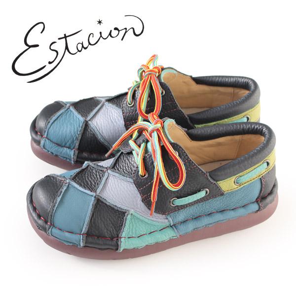 エスタシオン 靴 estacion TG154 (NV/MT) 本革 厚底 カジュアルシューズ コンフォートシューズ レディース 紐靴 レースアップシューズ パッチワーク