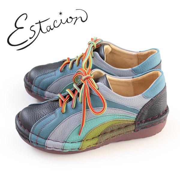 エスタシオン 靴 estacion MS820 (NV/MT) 本革 厚底 カジュアルシューズ コンフォートシューズ レディース 紐靴 レースアップシューズ