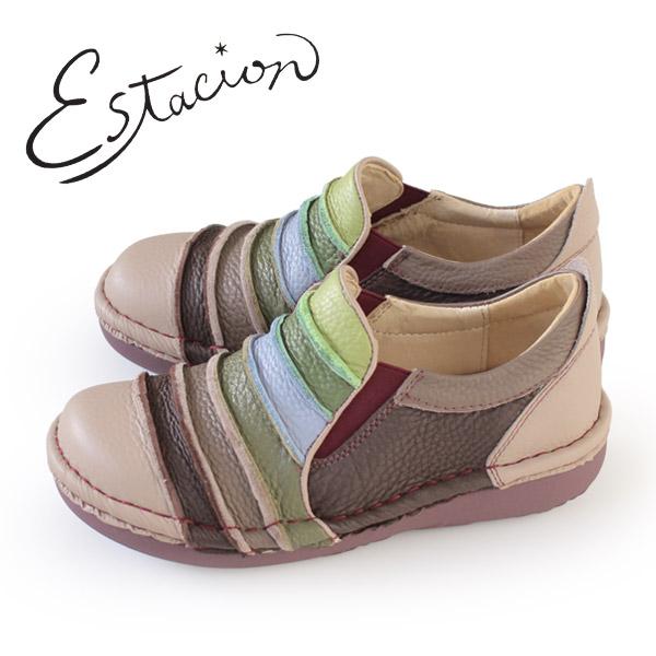 エスタシオン 靴 estacion MS25 (10025 OK/MT) 本革 厚底 スリッポン カジュアルシューズ コンフォートシューズ レディース