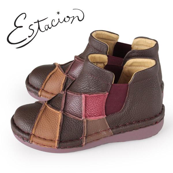 エスタシオン ブーツ 靴 estacion MS33 (BR/MT) 本革 ショートブーツ 厚底 サイドゴアブーツ レディース ローヒール