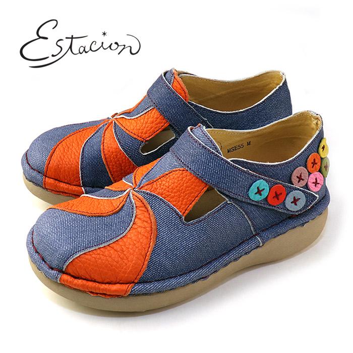 エスタシオン 靴 estacion MSE55 デニム/C ブルー オレンジ 本革 厚底 マジックテープ カジュアルシューズ コンフォートシューズ レディース