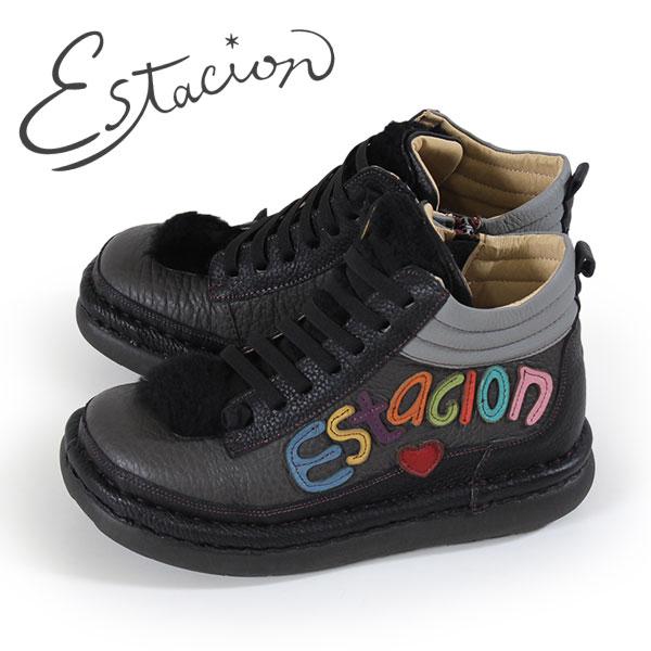 エスタシオン ブーツ 靴 estacion TGE316 (BL/MT) ショートブーツ アンクル レディース 黒 マルチ 厚底 ローヒール