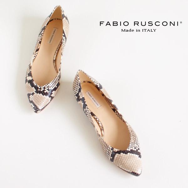 ファビオルスコーニ FABIO RUSCONI パンプス 靴 81509 パイソン 型押し ポインテッドトゥ フラット スネーク ヘビ柄