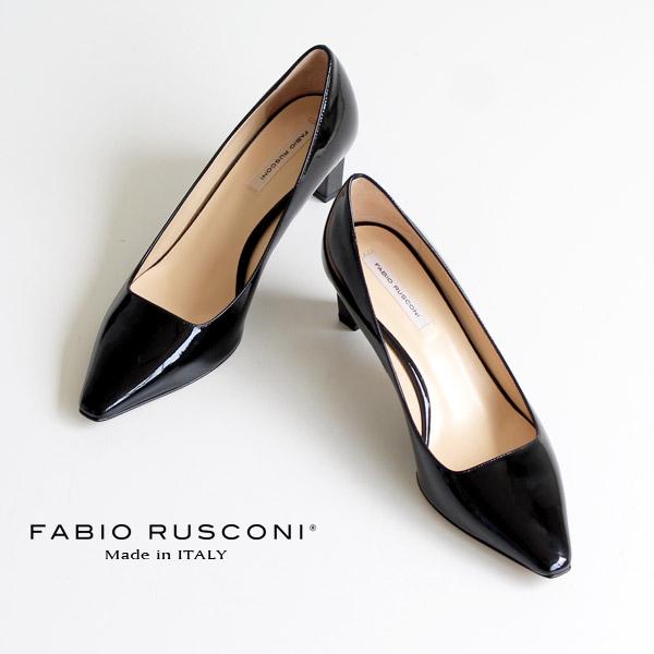 ファビオルスコーニ FABIO RUSCONI パンプス 靴 71152 ポインテッドトゥ プレーン パンプス ヒール エナメル 黒 ブラック クロ
