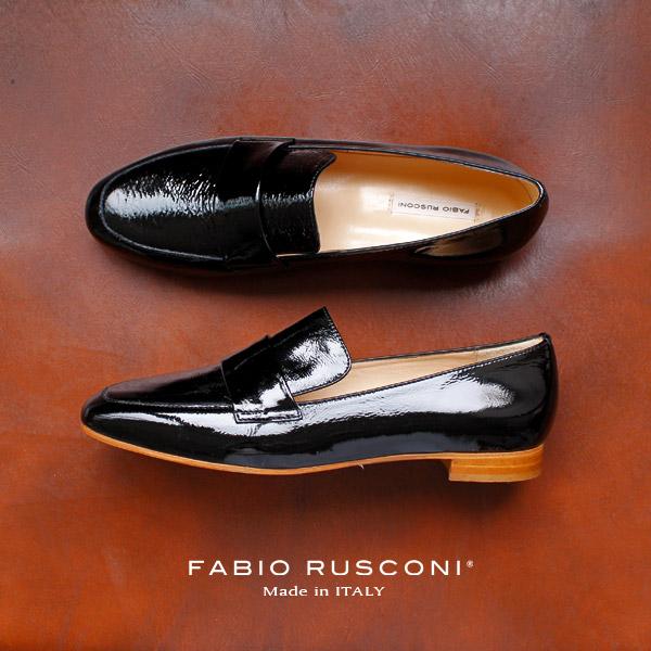 ファビオルスコーニ FABIO RUSCONI シューズ 靴 81611 ローファー エナメル シューズ ブラック 黒 クロ 本革