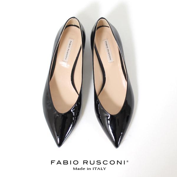 ファビオルスコーニ FABIO RUSCONI パンプス 靴 71144 エナメル ポインテッドトゥ フラット 本革 ローヒール 黒 ブラック