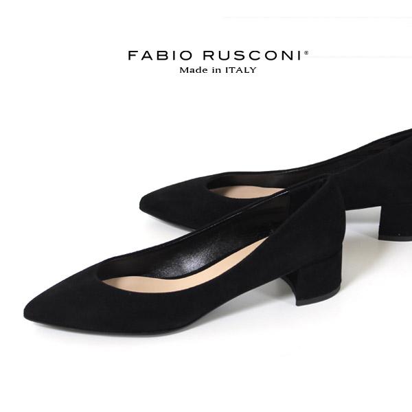 ファビオルスコーニ FABIO RUSCONI パンプス 靴 81106 スエード ポインテッドトゥ チャンキーヒール 太ヒール 本革 ローヒール 黒 ブラック