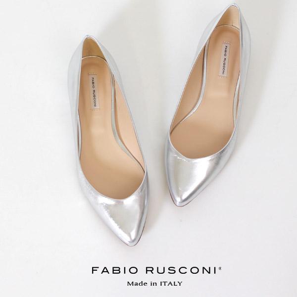 ファビオルスコーニ FABIO RUSCONI パンプス 靴 81508 シルバー フラット 本革 ローヒール イタリア