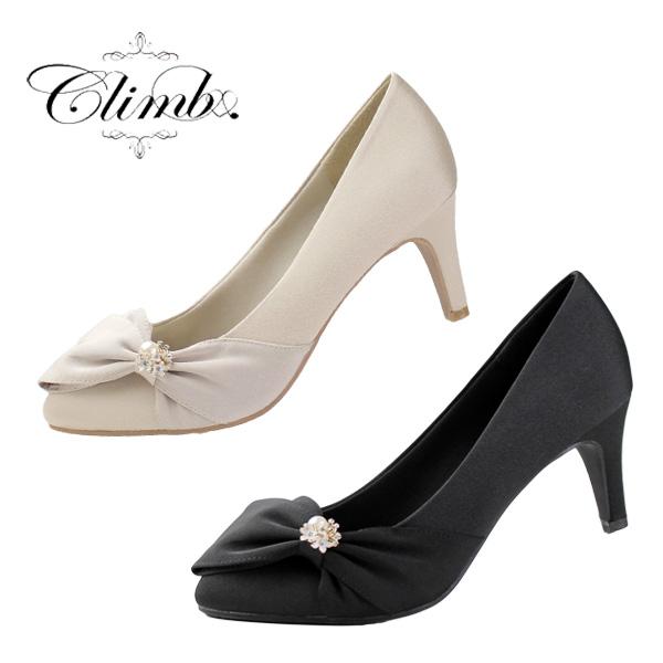 Climb クライム 結婚式 パンプス 靴 3513 リボン パール ヒール お呼ばれ 靴 レディース パーティー サテン 21.5 22.0 ~ 25.0cm 大きいサイズ 小さいサイズ ベージュ 黒 ブラック 卒業式 入学式 卒園式 入園式 七五三