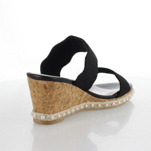 JELLY BEANS ジェリービーンズ 靴 2254 黒 サンダル フラワーカットベルト ウェッジソール ウェッジヒール パールライン ジュート ブラック レディース セール