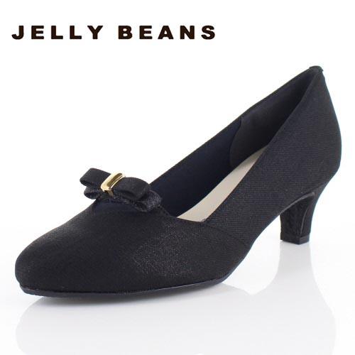 JELLY BEANS ジェリービーンズ 靴 5210 アーモンドトゥ パンプス リボン シンプル ヒール 黒 ブラック レディース セール