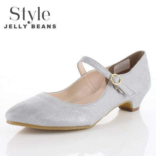 STYLE JELLY BEANS ジェリービーンズ 靴 2104 ストラップ パンプス ローヒール ポインテッドトゥ グレー レディース セール