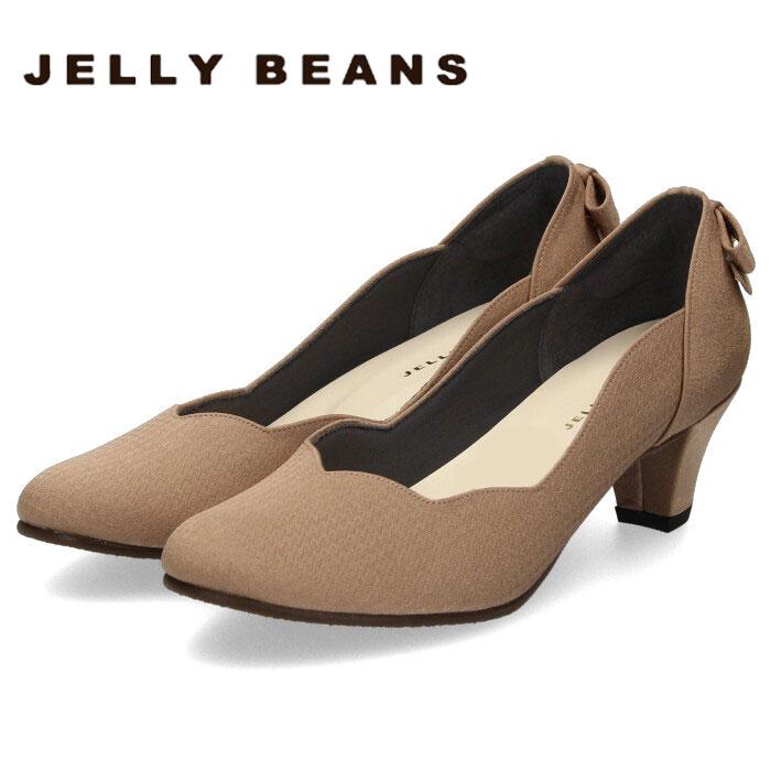 JELLY BEANS ジェリービーンズ パンプス バックリボン ヒール 2685 靴 レディース パーティー フラワーカット ふわさら ダークオーク 大きいサイズ 小さいサイズ 日本製 抗菌防臭