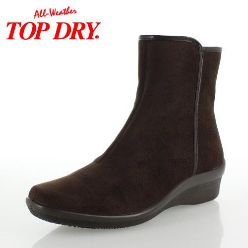 トップドライ ブーツ レディース ゴアテックス TOP DRY TDY-3929A ダークブラウンスエード ショートブーツ ウェッジブーツ 雨 雪 撥水 防水 靴 3E