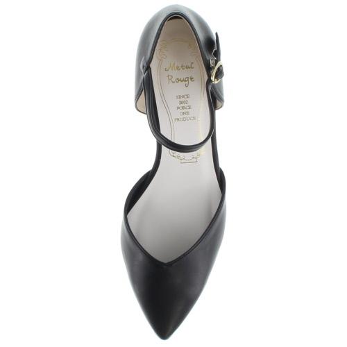 金屬胭脂胭脂金屬 1123年尖頭高跟鞋分開黑女士