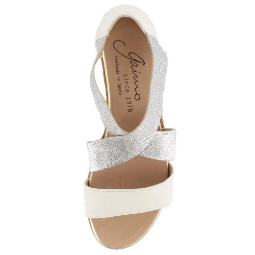 gaimo蛾芋NOVER MIA 61麻底帆布鞋交叉皮帶涼鞋楔子鞋跟厚底黄麻纖維象牙女士