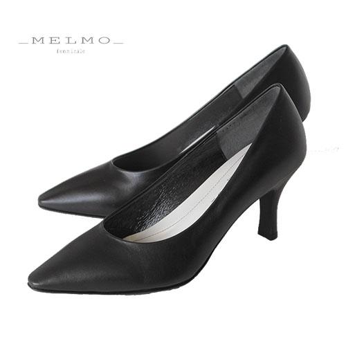 MELMO 靴 メルモ パンプス 7478 ブラック 天然皮革 フォーマル ゆったり 2E 入学式 入園式 卒業式 卒園式