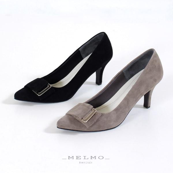 MELMO 靴 メルモ 7584 パンプス スエード ポインテッドトゥ バックルハイヒール ブラック グレー 日本製