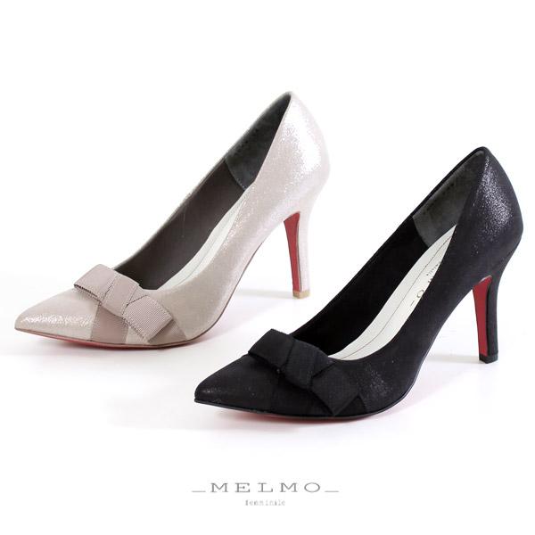 MELMO 靴 メルモ 7588 パンプス レッドソール リボン ポインテッドトゥ ハイヒール ラメ ブラック プラチナ 日本製