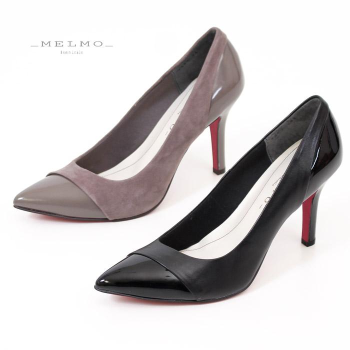 MELMO 靴 メルモ パンプス 7563 ヒール ハイヒール 本革 レッドソール ポインテッドトゥ ブラック オーク レディース 日本製 セール