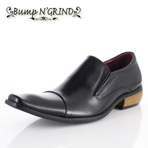 メンズ ビジネスシューズ Bump N GRIND バンプ アンド グラインド 靴 BG-2790 BLACK ブラック スリッポン 本革 紳士靴