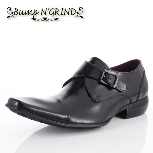 【エントリーでP5倍 4/9 20:00-4/16 1:59】 メンズ ビジネスシューズ Bump N GRIND バンプ アンド グラインド 靴 BG-6032 BLACK ブラック モンクストラップ 本革 紳士靴